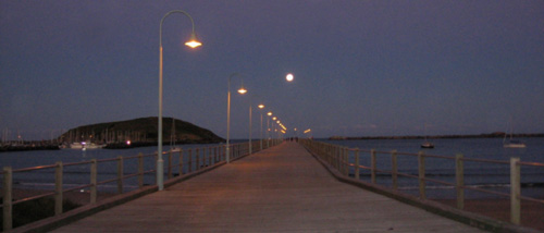 Coffs Harbour Jetty at dusk and with a full moon