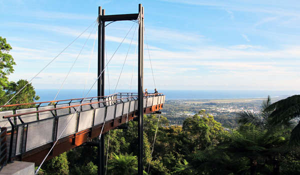 Sealy Lookout Sky Pier at Bruxner Park offers great views over Coffs Harbour
