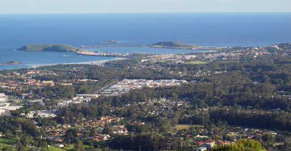 View over Coffs Harbour from Sealy Lookout at Bruxner Park