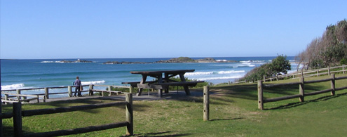 The view from just in front of the Surf Club Café, Sawtell