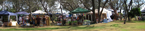 The market stalls are set up in the shade of the trees on the Jetty Foreshores