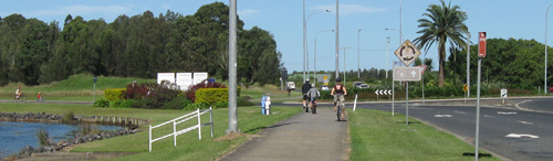 Cycling along Hogbin Drive near the university campus in Coffs Harbour