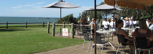 The outdoor café at the Sawtell Surf Club, overlooking the beach