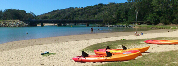 Hire kayaks at Boambee Creek Reserve, Sawtell, near Coffs Harbour